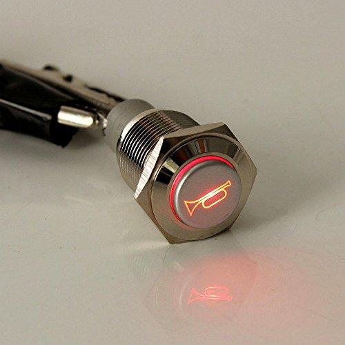 Mintice Interruttore a pressione LED blu momentaneo, clacson, altoparlante, 12V, 19mm, in metallo, per auto