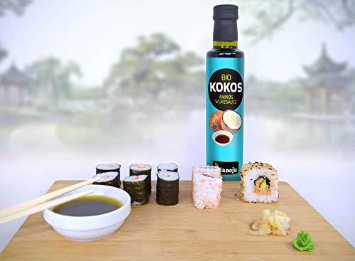 Hanoju Bio Kokos Aminos Würzsauce, Soja-freie Gewürz Sauce, Alternative zu Sojasaucen 500 ml