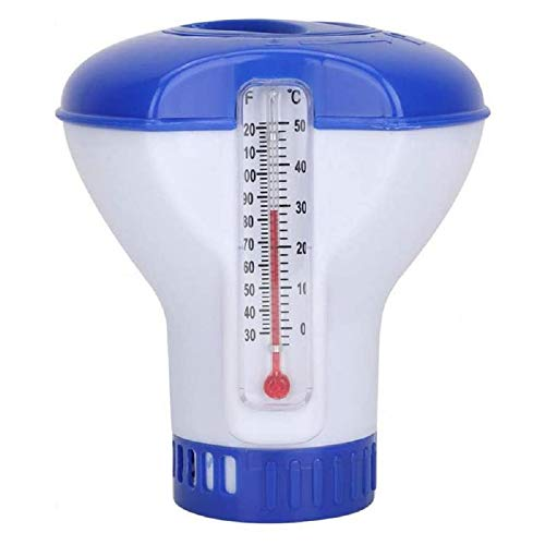 Cihely Pool Dosierschwimmer, Chlor Schwimmer Pool chemischen Spender Chlor Dosierer mit Thermometer und Einstellbar Belüftungsöffnungen für Innen- und Außenpools, 5 inch