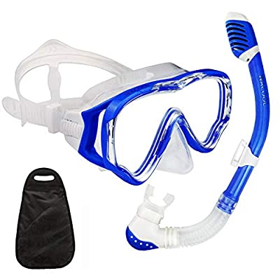 WACOOL Snorkeling Snorkel Package Set for Kids Youth Junior, Anti-Fog Coated Glass Diving Mask, Snorkel with Silicon Mouth Piece,Purge Valve and Anti-Splash Guard. (DarkBlue)