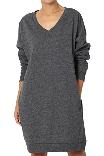 TheMogan Women's Casual V-Neck Pocket Loose Sweatshirt Tunic Grey 1XL