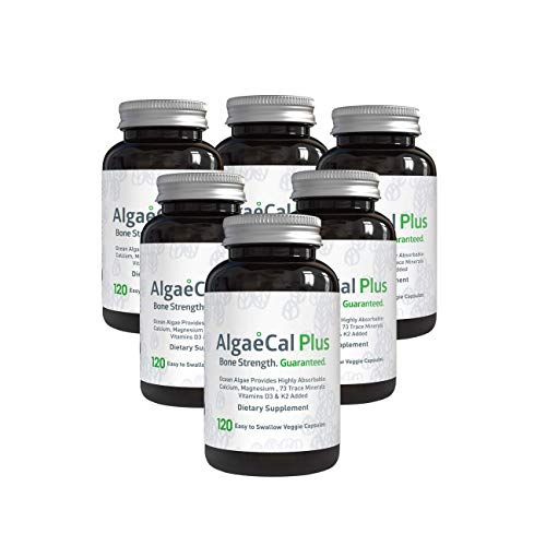 AlgaeCal Plus – Plant-Based Calcium Supplement with Magnesium, Boron, Vitamin K2 + D3 | Increase Bone Strength | All Natural Ingredients | Highly Absorbable | 120 Veggie Capsules per Bottle (6 Pack)