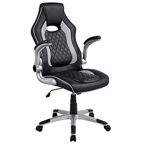 Yaheetech Gaming Chair High Back Office Computer Chair Adjustable PU Leather Racing Chair with Lumbar Support