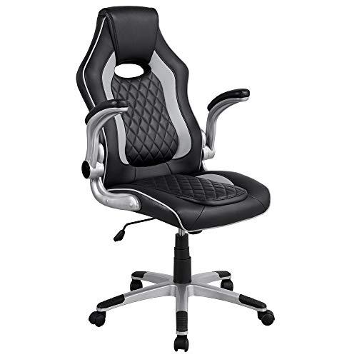 Yaheetech Grauer Computer-Schreibtischstuhl Bürostuhl Gaming Stuhl Verstellbarer Racing Stuhl Ergonomischer Arbeitsstuhl Drehstuhl mit Armlehnen und Rückenstütze für Home Office