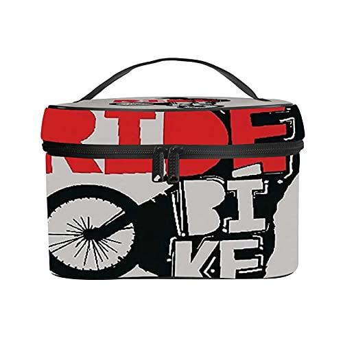Ladies Portable Travel Cosmetic Bag,Makeup Bag,Cool BMX Design Ride Bike Bicycle for Men & Boys,Handy Toiletry Washing Bag Receiving Bag Multifunction