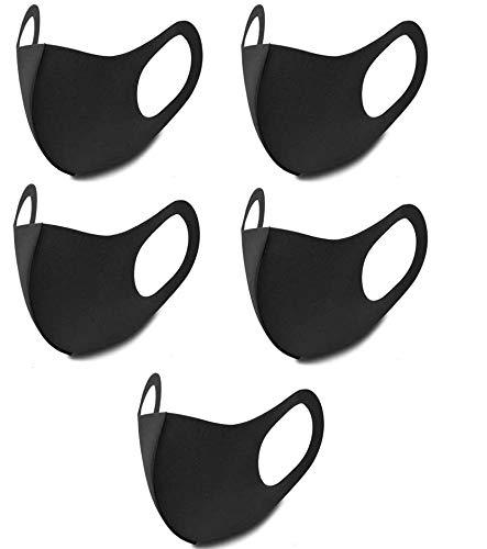 ブラック 花粉 風邪 予防 通気 男女兼用 5枚セット 洗える 立体ポリウレタン スポーツバイク フェイスマスク