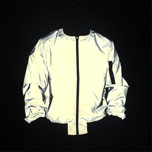 Chaqueta cortaviento reflectante Hombres y mujeres deportes al aire libre ropa reflectante de ciclismo chaqueta con capucha yardas grandes Todo el Harajuku Hip-hop Trench Coat Color puro contratado Co