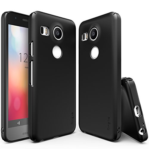 Ringke Slim Compatible with Nexus 5X Case Extreme Lightweight & Thin Cover w/Screen Protector Snug-Fit Scratch Resistant Superior Coating PC Hard Skin for Google Nexus 5X - SF Black