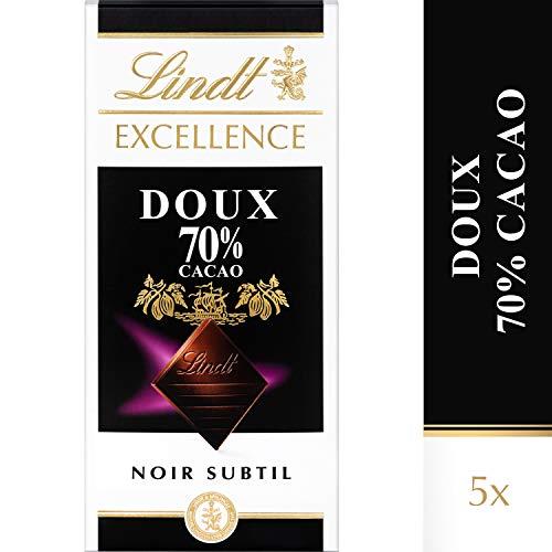 Lindt Excellence Noir Doux 70 % de Cacao - 100 g, Lot de 5