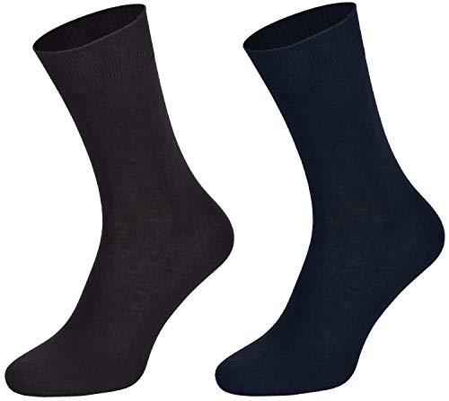 Tobeni 10 Paar Herrensocken Business Socken 100% Baumwolle Spitze ohne Naht Farbe 5x Anthrazit 5x Marine Grösse 39-42