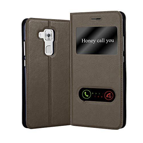 Cadorabo Hülle für Huawei NOVA Plus in Stein BRAUN – Handyhülle mit Magnetverschluss, Standfunktion & 2 Sichtfenstern – Hülle Cover Schutzhülle Etui Tasche Book Klapp Style