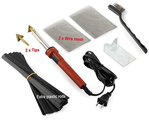 Jounjip Plastic Welding Repair Kit for Fuel Tank, Bumper, Canoe - 2 Tips, 20 Black Plastic Rods, 2 Mesh, 80W Iron - New 2019 Version