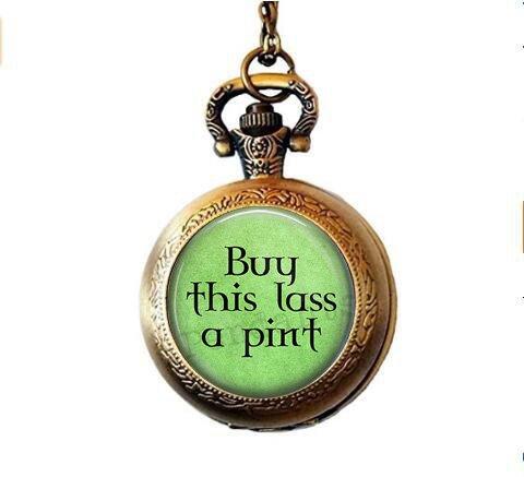 """stahpk Halskette mit Anhänger """"Irish Bier"""" – Kaufen Sie dieses Bier-Liebhaber – Kaufen Sie dieses Mädchen ein Bier – St. Patricks Day Taschenuhr Halskette – St. Patrick"""