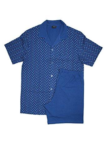 Seidensticker Herren Pyjama Kurz Zweiteiliger Schlafanzug, Blau (Dunkelblau 803), Medium (050)
