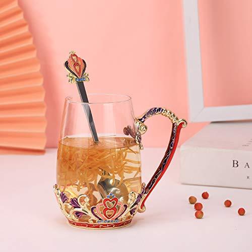 DAJAMAI - Taza de cristal esmaltado, sin plomo, taza de café, taza de té con cuchara, regalo perfecto para mujeres, esposas, novias, día de la madre, día de San Valentín,...