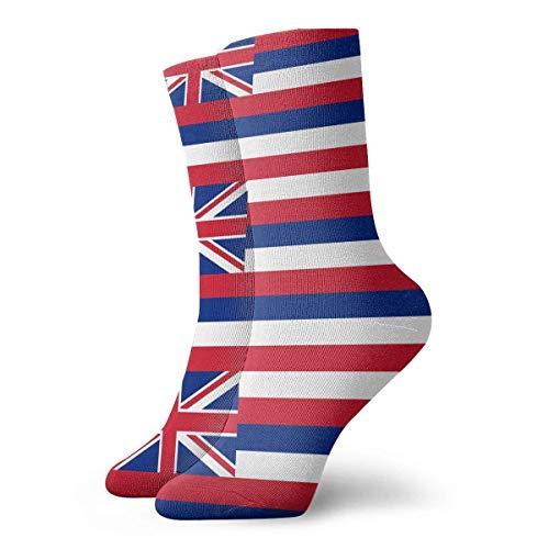 N\A Mujer Hombre Calcetines deportivos con cojín con la bandera del estado de Hawaii