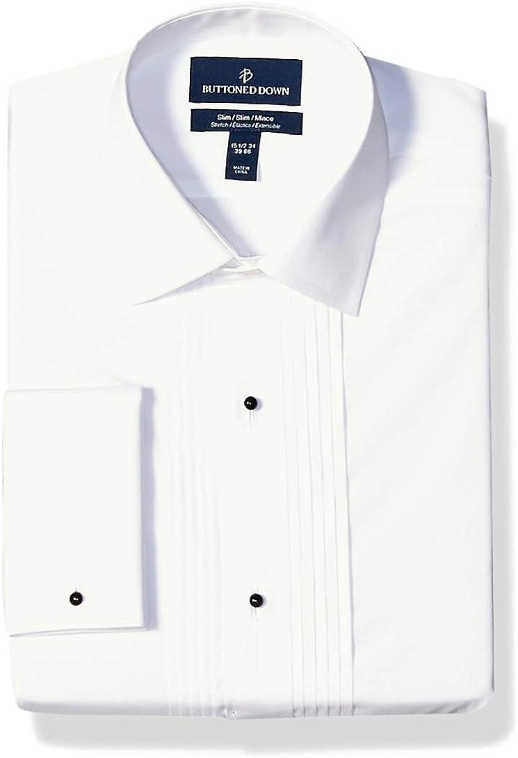 Buttoned Down Men's Slim Fit Bib-Front Tuxedo Shirt, Supima Cotton Easy Care, Spread-Collar