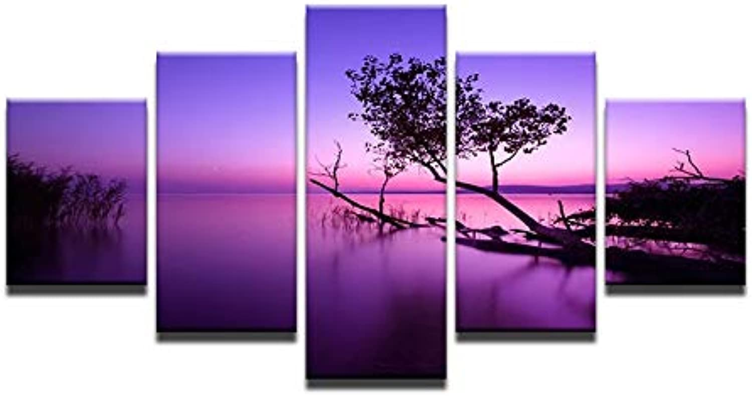 5 Piece Wall Painting Canvas Tree in Sunset Lake Purple Decorative Art Painting for Living Room Wall Decor
