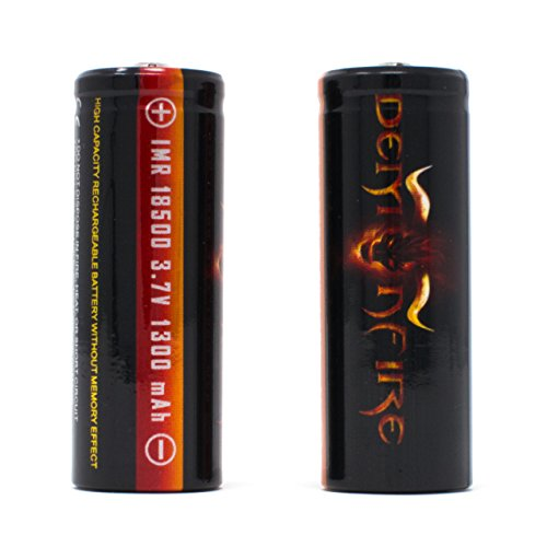 IMR 18500 1300mAh 3.7V High Drain LiMn Demonfire Rechargeable Battery with Button Top (2 Pieces)
