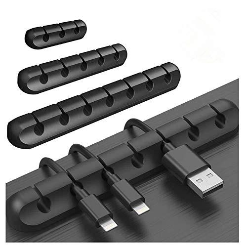NiAGUOJI Clips de cable, clips de gestión de cables, paquete de 3 soportes de cable de silicona adhesivo para cables, organizador de gestión de cables para cables de alimentación (negro)