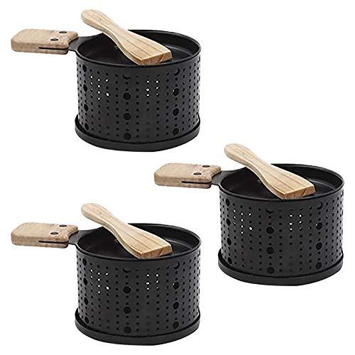 Mini Raclette Set - Raclette à Fromage Anti Adhésive Portable Plateau - Faite Fondre Votre Fromage Rapidement - Pique-Nique Fournitures de Cuisine Maison Outil De Grillage- Set de 2/3/4 (3)