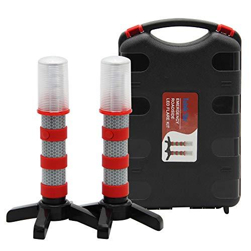 Twinkle Star Emergency Roadside Flares Kit LED Safety Strobe Road Warning Light Highway Beacon Alert Flare with Magnetic Base, Detachable Stand, Solid Storage Case, Set of 2