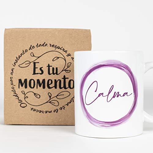 Taza Desayuno con Mensaje Calma_ Regalos Originales para Mujer_ Taza café Infusiones o Decoración Hogar en Cerámica de Alta Calidad.