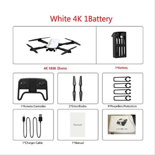 xiaozhu1218 1808 RC Drones 4k Quadcopter Profesional Mini Drone WiFi FPV Quadrocopter con Cámara Posicionamiento De Flujo Óptico Drone De Bolsillo Juguete Blanco 4K 1Batería