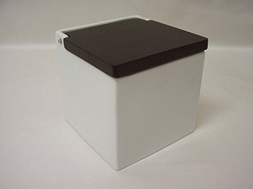 SALERO Sal Cuadrado Porcelana Blanco BISAGRA Tapa Madera Negro Grande