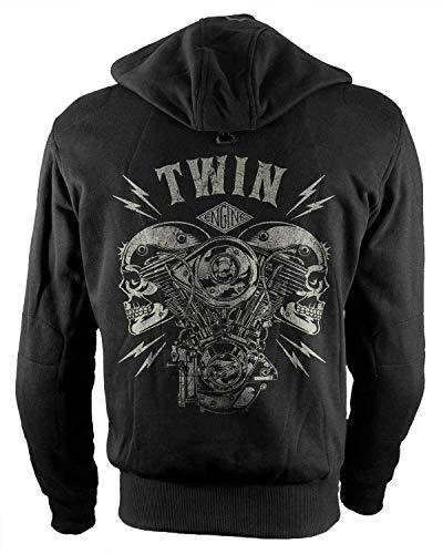 Rebel on Wheels Biker-Hoodie Motorrad-Hoodie Aramid V-Twin Skull Schwarz Kapuzen Jacke Motorrad M