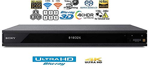 Sony Region Free UBP-X1100ES 4K Ultra HD Blu-ray Player UHD Multi Region Blu-ray DVD, Region Free Player 110-240 Volts, HDMI Cable & Dynastar Plug Adapter Package