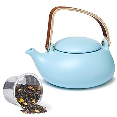 ZENS Teapot with Infuser, Blue Matte Ceramic Japanese Tea Pot for Loose Leaf Tea, 27 Ounces Modern Porcelain Teapots for Women Gift with Modern Bentwood Handle, 800ml