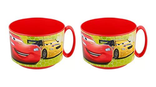 ALMACENESADAN 3178; Pack de 2 tazones Micro Disney Cars; Capacidad 450 ml; Producto Reutilizable; Apto para microondas; Libre de BPA