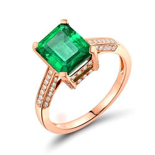 AnazoZ Anillos de Esmeraldas para Mujer,Anillo de Oro Rosa 18 Kilates Oro Rosa Verde Rectángulo Esmeralda Verde 2.04ct Diamante 0.27ct Talla 23,5