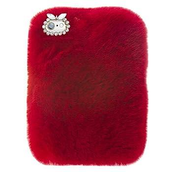 Case for ZenPad S 8.0 Z580C,Winter Bling Rhinestone Fuzzy Faux Rabbit Furry Fluffy Beaver Rex Rabbit Fur Protective Case for ASUS ZenPad S 8.0  Z580C/ Z580CA  2015 Released  Red