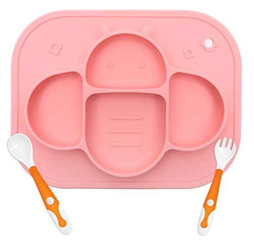 YIVEKO Baby Plates with Suction Plates Divided, Baby Spoon Fork Set for Toddlers, Silicone Plates for Kids with Suction Stick to High Chair Trays and Table, Baby Dishes Kids Plates and Utensils-Pink