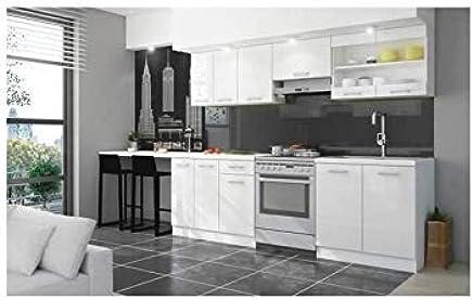 Genial JASNY Cuisine Complete 2m40 Avec Plan De Travail   Laqué Blanc