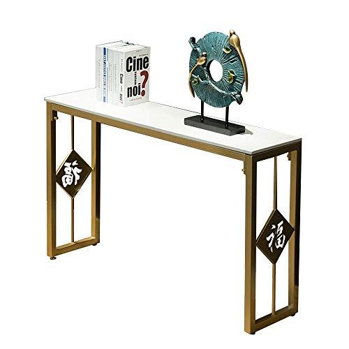 Mesa Consola Mesa para entrada, sofá Mesa Entrada Mesa Consola Salón de mármol Armario decorativo para el hogar Arte de hierro Mesa lateral de pared dorada 31 & times; 11 y veces; 29 pulgadas para el