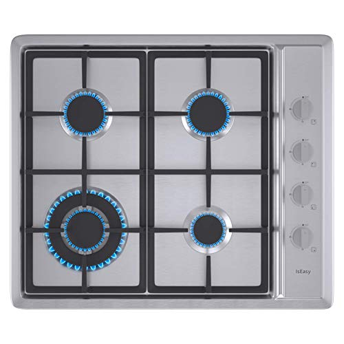"""IsEasy Gas Cooktop 24"""" Stainless Steel 4 Burners Gas Stove with NG/LPG Conversion Kit"""