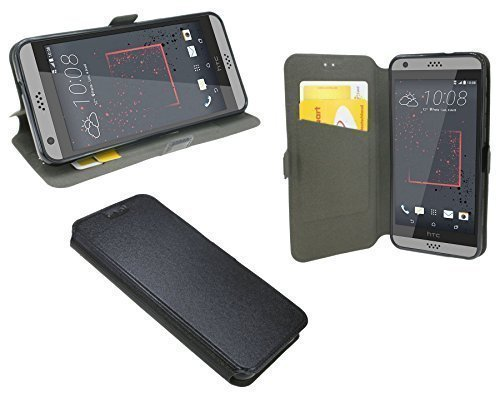 ENERGMiX Elegante Buch-Tasche kompatibel mit HTC Desire 530 in Schwarz Leder Optik Wallet Book-Style
