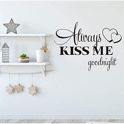 Kus me altijd Goede Nacht Muurstickers Huisdecoratie Decal Slaapkamer Vinyl Art muurschildering Patroon Creatieve stickers57X40cm