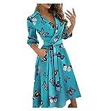 Dress for Women Elegance Audrey Hepburn Style Ruched V-Neck 3/4 Sleeve...