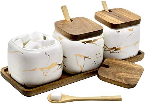 Juego de tarros de especias, 3 unidades, azucarero de cerámica con tapa y cuchara, bambú para casa y cocina, alternativa al especiero y especiero para cocina y mesa de comedor, diseño de mármol blanco