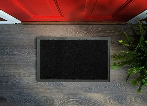 Zerbino Flori – Lavabile e antiscivolo, facile da pulire, tappetino per ingresso, passatoia da cucina, per interni ed esterni (nero, 60 x 90 cm)