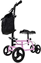Vive Mobility Knee Walker - Steerable Scooter for Broken Leg, Foot, Ankle Injuries - Kneeling Quad Roller Cart - Seat Pad for Adult and Elderly Medical - 4 Wheel Caddy Crutch - Bag Included (Pink)