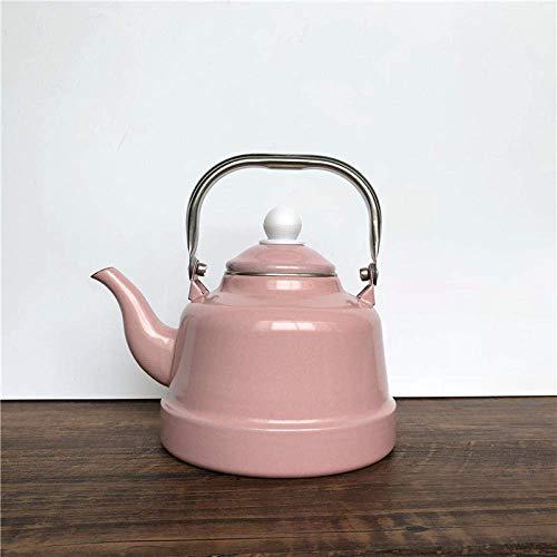 YNHNI Viejo Estilo de té Ollas Hervidor esmaltado esmaltado Porcelana pote de Bell Fresca de Menta Verde Pendiente Restaurante Hervir la Caldera Tetera de té Retro @ LL (Size : 2.3L)