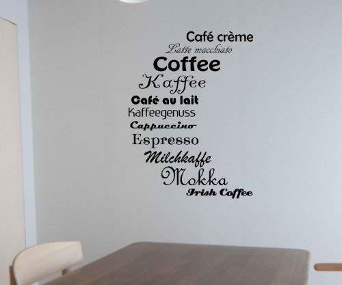myDruck-Store Adesivo da Parete Tipi di caffè Coffee Cucina Tattoo Adesivi da Parete Decalcomania 5q650, Blu Reale Opaco, 40 cm