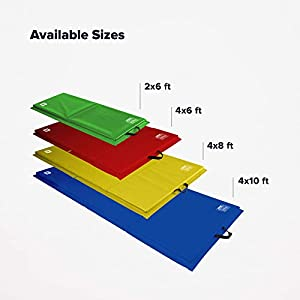 We Sell Mats Lightweight Folding 2 Inch Thick Fitness & Exercise Mat, 4' x 8', Multi-Color