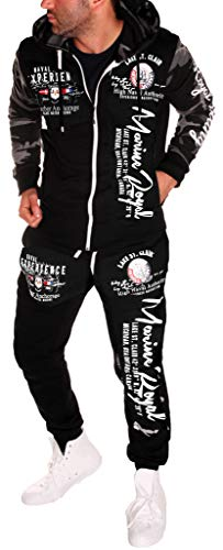 Yalvis Herren Trainingsanzug Jogginganzug Sportanzug Streetwear ARMS Camouflage-Weiß XS