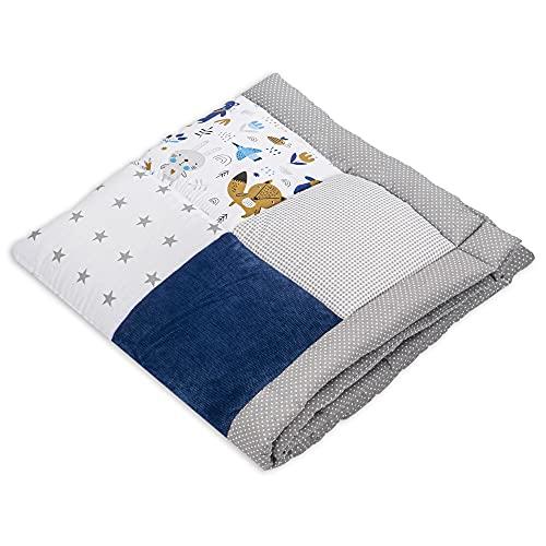 Tapis d éveil pour bébé - Patchwork - Tapis de parc - 100 x 100 cm - Certifié Öko-Tex Standard 100 (100 x 100 cm, velours bleu foncé avec motif animaux en coton)